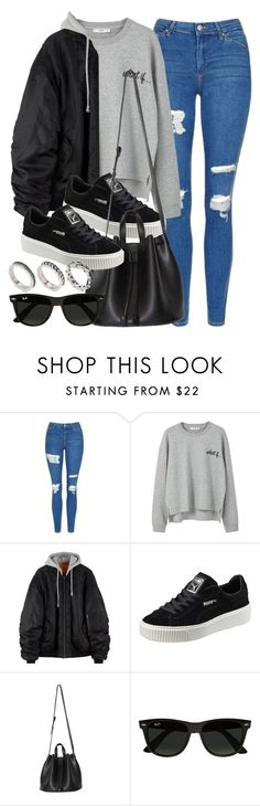 """Sin título #11859"" by vany-alvarado ❤ liked on Polyvore featuring Topshop, MANGO, Puma, Ray-Ban and ASOS"