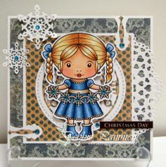 From our Design Team! Card by Debbie Pamment featuring Snowflake Garland Marci and these Dies - Booktab and Labels Die Set,  Heart Doily Border,   Ornate Snowflake Die Set, Steampunk Clock :-) Shop for our products here - http://lalalandcrafts.com/ Coloring details and more inspiration from our Design Team here - http://lalalandcrafts.blogspot.ie/2014/06/inspiration-monday-sketch.html