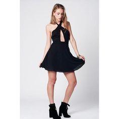 Short Black Wrap Front Maxi Dress