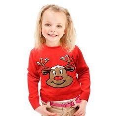 Czerwony #świąteczny #sweterek z reniferem.  Ciepły i przyjemny, każdemu dziecku będzie w nim wygodnie