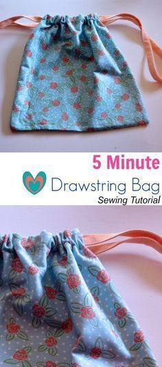 5 Minute Drawstring Bag Sewing Tutorial: Learn how to make this quick and easy sewing project. 5 minutes ideal for beginner sewists! #sewingforbeginnersprojects