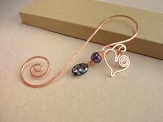 Swirly copper wire bookmark with copper by SabineMichaelJewelry, $17.00