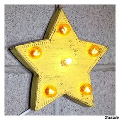 "Custom 9"" Rustic Yellow Star Marquee Sign,made by Rustalgic"