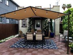 The Happiness of Having Yard Patios – Outdoor Patio Decor Backyard Shade, Patio Shade, Backyard Patio Designs, Diy Patio, Patio Ideas, Pergola Ideas, Pergola Kits, Pergola With Shade, Shade For Deck