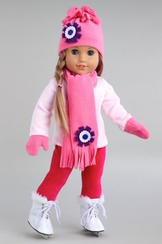 Ice Skating Fun - Clothes for 18 inch American Girl Doll - Blouse, Leggings, Hat, Scarf, Mittens, Skates – Dreamworld Collections
