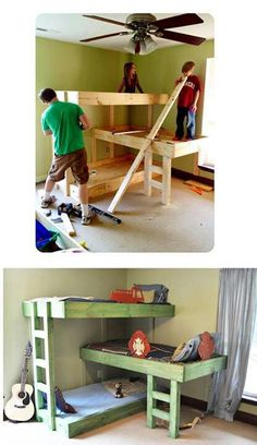 DIY three level bunk bed. Even scrap the bottom bunk and just have the top two/offset bunks!!