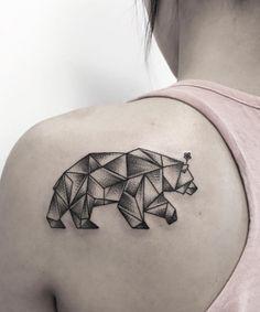 Geometric bear tattoo by Zeke Yip