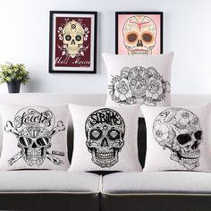 Mexican Skull Cushion 45*45CM Vintage Calavera Mexican Cotton Throw Pillow For Sofa Car Seat Decor Skull Pillow No filler