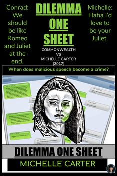When does malicious speech become a crime?  MICHELLE CARTER CASE. ✔ There are five 11x17 One Sheets with information and questions for students. ✔ Teacher notes - there are five 11x17 pages - so they are equivalent to 10 pages of notes. ✔The student One Sheet includes the following sub-headings: WHO is the case about? THE EVENTS. THE TRIAL JUDGEMENT AND AFTERMATH. INFORMATION ON MANSLAUGHTER. A SUMMARY OF THE JUDGE'S STATEMENT. INFORMATION FROM THE HARVARD LAW REVIEW QUESTIONS #romeoandjuliet Critical Thinking Activities, All About Me Activities, Fun Fall Activities, Drama Teacher, Teacher Notes, Teacher Stuff, Michelle Carter, Higher Order Thinking, Secondary Teacher