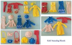 Beautiful pieces for collectors or for kids. - Handmade Crocheted original designed outfits for Barbie dolls. - Good for regular, tall and curvy size. - Easy to use. No overhead. No need to take out the lace on back. - Each outfit includes:  Dress: knee level.  Coat: yellow coat is knitted.  Hat  Purse. - Not recommended for kids under 4 years old. - Barbie doll not included. - All the outfits have been made in a smoke and pet free environment. - More than happy to help you with your…