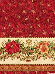 "Holiday Flourish - Pure Elegance - 24"" x 44"" PANEL - Quilt ..."