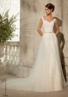 Blu - Alençon Lace Appliqués on Net Shown with Removable Tulle Overskirt #11076, Sold Separately