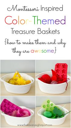 Montessori inspired Color Themed Treasure Baskets for Toddlers -- how to make them and why they are awesome.