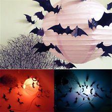 12pcs chauve-souris 3d pvc noir bat set DIY autocollant sticker HALLOWEEN DECORATION