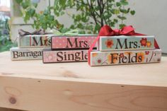Layered wooden block name plates for teacher