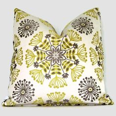 Gray and Citron Yellow Stylized Floral Decorative Pillow Cover 18x18 Decorative Pillow Cover, Accent Pillow, Throw Pillow, Pillow Cover. $45.00, via Etsy.