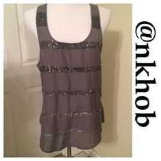 PRETTY SEQUIN EMBELLISHED DRESSY TANK Beautiful dressy tank with sequin embellished strips.  EUC American Eagle Outfitters Tops Tank Tops