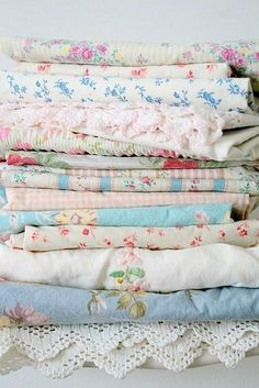 Shabby chic linens....perfect for cottage style!