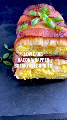 Diabetic Recipes, Low Carb Recipes, Cooking Recipes, Healthy Recipes, Brunch Recipes, Breakfast Recipes, Low Carb Breakfast, Breakfast Wraps, Bacon Wrapped