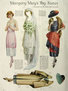 1921 Margery May's Big Sister Paper Dolls ~ Wedding
