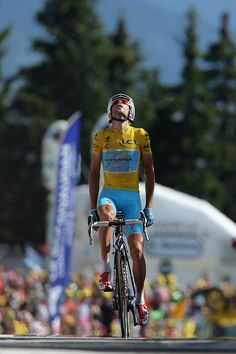 Vincenzo Nibali of Italy and the Astana Pro Team reacts as he defends the overall race leader's yellow jersey and wins the thirteenth stage of the 2014 Tour de France, a 197km stage between Saint-Etienne and Chamrousse, on July 18, 2014 in Chamrousse, France. (Photo by Doug Pensinger/Getty Images)