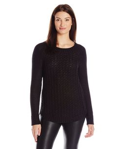 Calvin Klein Jeans Women's Core Texture Mixed Crew Sweater Black Small NEW #CalvinKleinJeans #Sweater