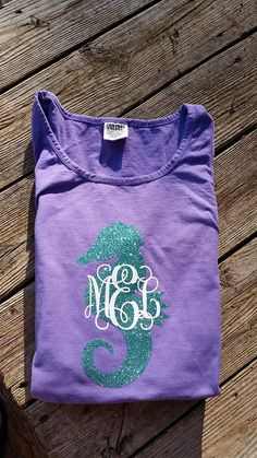 Large+Glitter+Seahorse+Monogram+Comfort+Color+Tank+by+BeachyMommas,+$25.00