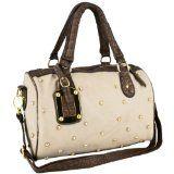 cool MG Collection PRITA Studded Cream Faux Crocodile Bowler Handbag