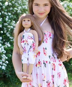 White Floral Romper for 18'' Doll by Lilli Lovebird #zulily #zulilyfinds