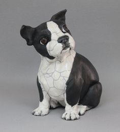Raku fired Boston Terrier, by Theresa McCarthy Sayer