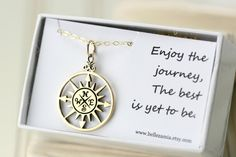 Gold compass necklace is perfect gift for the high school graduate! Also for collage graduates or for any special occasion.