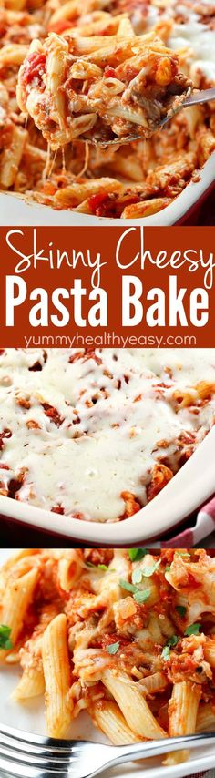 Skinny Cheesy Pasta Bake is a delicious layered casserole made lighter by using ground turkey, whole wheat pasta & lighter cheeses. Comfort food but healthier!