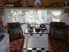 """vintage trailer...like the use of the """"side"""" table in place of the dinette"""