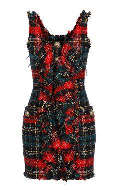 Ruffle Detail Tweed Dress by Balmain Stage Outfits, Kpop Outfits, Retro Outfits, Chic Outfits, Blackpink Fashion, Couture Fashion, Fashion Looks, Fashion Outfits, Womens Fashion