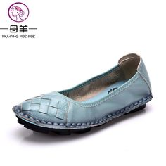 Buy now MUYANG 2017 New Fashion Genuine Leather Handmade Women Shoes Comfortable Casual Flat Shoes Woman Loafers Women Flats just only $24.58 with free shipping worldwide  #womenshoes Plese click on picture to see our special price for you