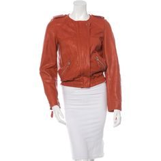 Pre-owned ?toile Isabel Marant Collarless Leather Jacket ($275) ❤ liked on Polyvore featuring outerwear, jackets, orange, pocket jacket, zipper jacket, red leather jacket, etoile--isabel marant jacket and leather zip jacket