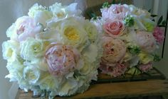 peony rose bridal bouquet and brides maid to match