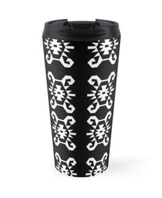Art for travelers. Black and white ethnic style travel mug. High quality product designed by independent artist. Perfect gift for her.#ArtForTravelers