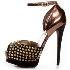 Steve Madden Obstcl-S Black and Bronze Studded Peep Toe Heels $149.00