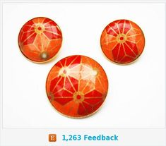 Orange Brooch pendant Earring Set - Red gold - Mod modern - pierced earrings - Geometric Flower Floral - Round - Vintage jewelry by serendipitytreasure on Etsy Costume Jewelry Sets, Vintage Costume Jewelry, Vintage Costumes, Vintage Jewelry, Antique Jewelry, Pendant Earrings, Pierced Earrings, Geometric Flower, Jewellery Storage