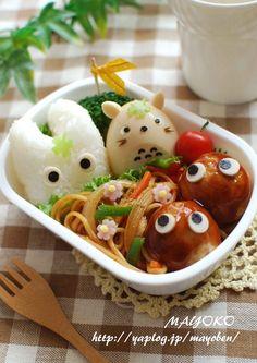 Totoro Bento >w< Cute Bento Boxes, Bento Box Lunch, Cute Food, Good Food, Yummy Food, Japanese Food Art, Kawaii Bento, Little Lunch, Bento Recipes