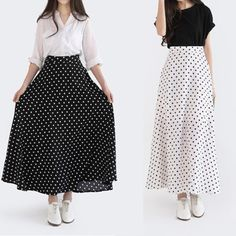 Cheap skirt swimsuit, Buy Quality skirts band directly from China skirt pattern Suppliers: 2014 Spring Summer Vintage England Style Black White Polka Dots High Waist Long Maxi Skirt With Zipper For Women 497702