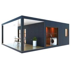 1 Bedroom Container Home With Covered Deck – SimpleTerra - Provider of Alternative Living Solutions Container Design, Tall Windows, Windows And Doors, Diy Cabin, Home Still, Casas Containers, Best Insulation, Shipping Container Homes, Sliding Glass Door