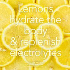 Lemons hydrate the body & replenish electrolytes! By Medical Medium Lemons hydrate the body & replenish electrolytes! By Medical Medium Health Facts, Health And Nutrition, Health And Wellness, Health Tips, Health Fitness, Holistic Nutrition, Gut Health, Health Care, Health And Fitness