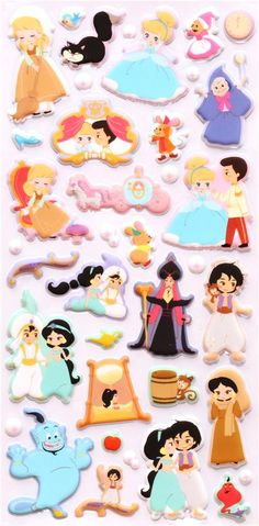 Disney 3D sponge sticker book set Aladdin Cinderella.. If I was an artist, these would make absolutely adorable sugar cookie designs. Love Stickers, Kawaii Stickers, Princess Cookies, Disney Cookies, Disney Clipart, Halloween Stickers, Kawaii Stationery, Sticker Design, Cookie Designs