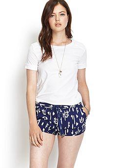 Ikat Linen-Blend Shorts | FOREVER21 - 2000061468