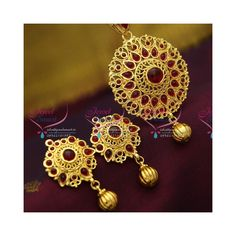 Gold Plated Handmade Brass Metal Temple Kempu Pendant Earrings Set Gold plated pendant set with temple kempu spinel stones. Height of the pendant is 79 mm and width is 42 mm Height of the earrings is 44 mm and width is 24 mm Earrings lock is Temple Jewellery, Brass Metal, Pendant Set, Pendant Earrings, Party Wear, Earring Set, Gold Jewelry, Crochet Earrings, Plating