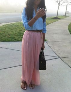 jean top with chiffon maxi and a belt.