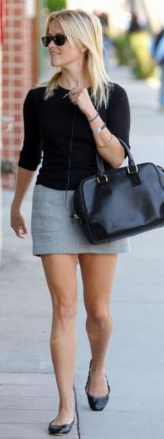Sunglasses – Ray Ban    Shoes – Chloé    Skirt – Jenni Kayne    Purse – Loewe