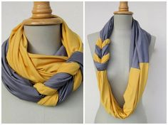 Lovely EASY scarves! Going to have to do a couple of these since I left all my scarves in my dorm room